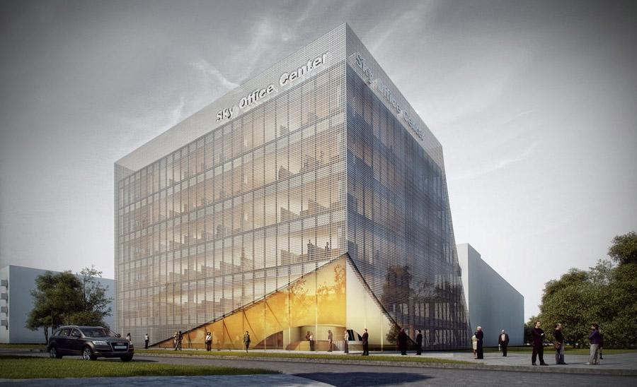 Budynek biurowy SKY OFFICE CENTER w Warszawie. Projekt: Mobius Architekci