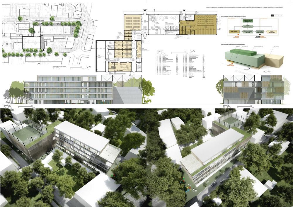 Projekt konkursowy szkoły w Pruszkowie