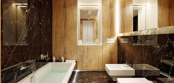 Apartament z drewna i marmuru