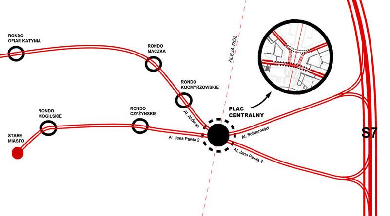 Projekt Alei Róż i Placu Centralnego w Krakowie