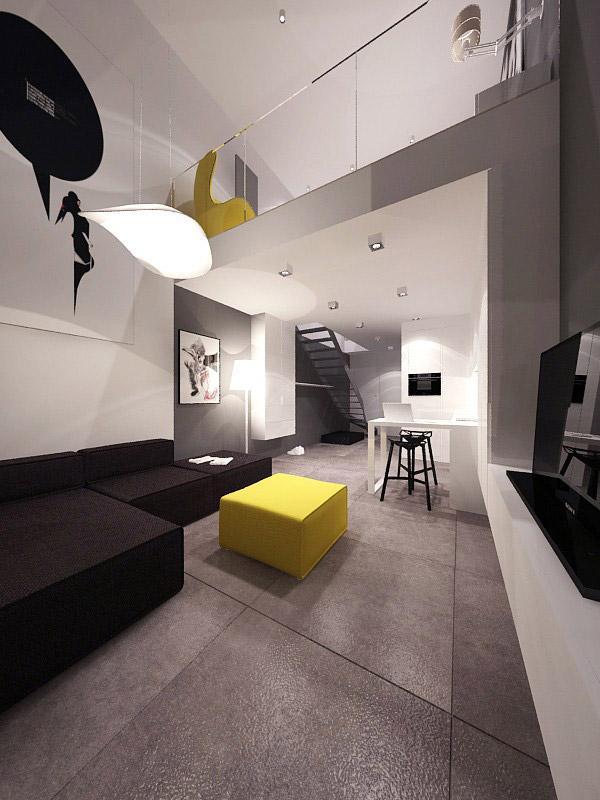 Aranżacja wnętrza loftu projektu minimalstudio