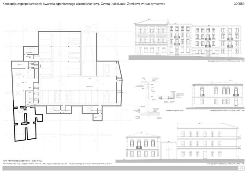 Zabudowa kwartału w Krasnymstawie. Projekt: Arche Plan