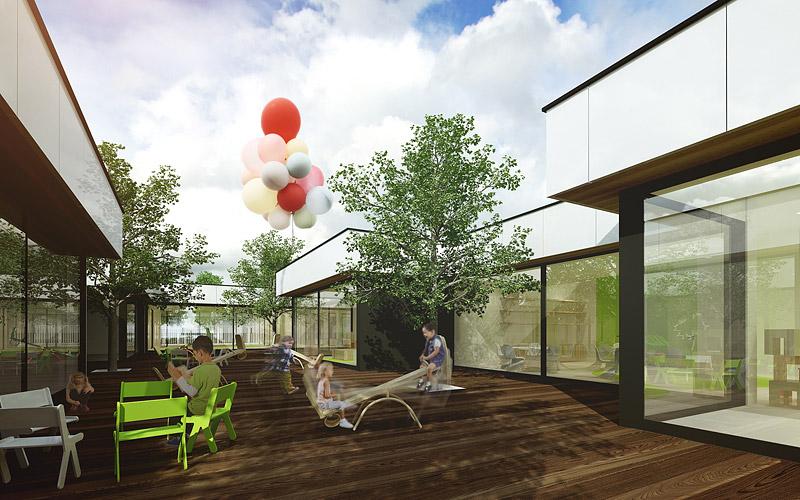 Przedszkole modułowe. Projekt: Minimalstudio Architects