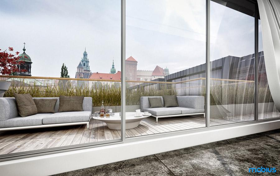 Apartament Angel Wawel II w Krakowie. Projekt: Mobius Architekci