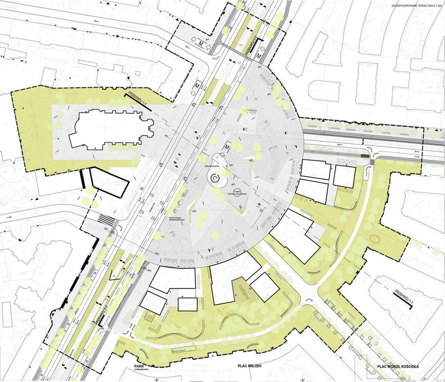 Plac Narutowicza w Warszawie. Projekt: Pracownia Architektoniczna WXCA
