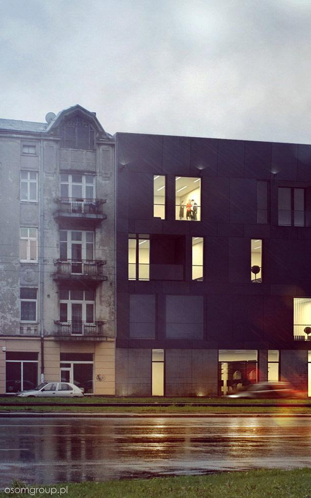 Kamienica przy Al. Piłsudskiego w Łodzi. Projekt: OSOM Group