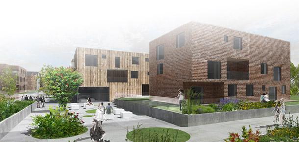 Osiedle Mieszkaniowe w Bielanach Wrocławskich. Projekt: Pracownia Architektoniczna Dawid Marszolik