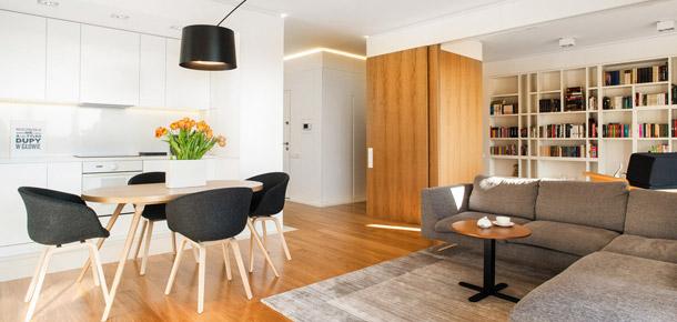 Mieszkanie z ukrytym gabinetem. Projekt: 81.WAW.PL