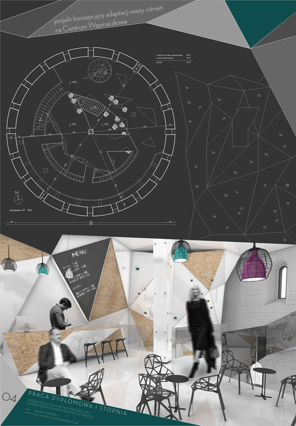Adaptacja wieży ciśnień na Centrum Wspinaczkowe. Projekt: Radosław Mazurek