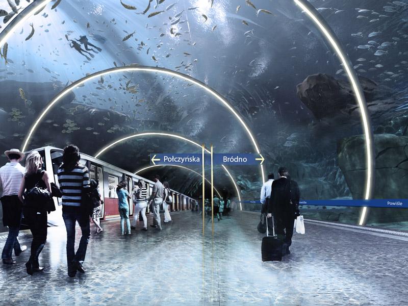 Stacja metra Powiśle w Warszawie. Projekt: Marek Gliniewicz, Przemysław Kaczkowski