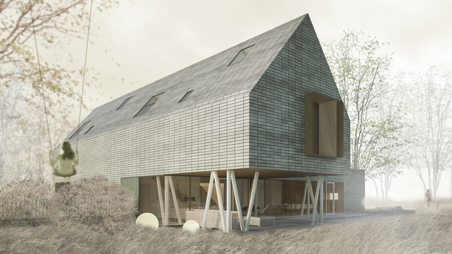 Dom jednorodzinny pod Kołobrzegiem. Projekt: Pracownia 111
