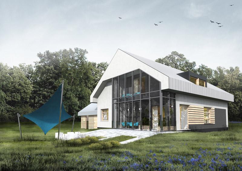 Dom jednorodzinny pod Warszawą. Projekt: Kasprowicz i Zaremba Architekci