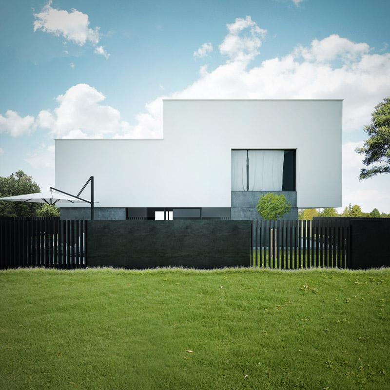 Dom z płaskim dachem. Projekt: 90 Stopni Architekci