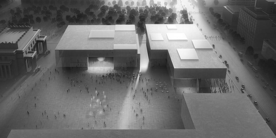 Muzeum Sztuki Nowoczesnej oraz Teatr Rozmaitości w Warszawie. IV miejsce w konkursie: Pracownia Architektoniczna WXCA