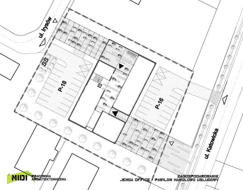 Budynek biurowy Jenga Office. Projekt: Pracownia Architektoniczna MIDI