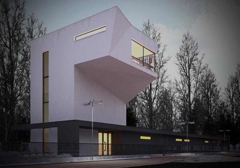 Projekt zaplecza obiektu sportowego w Łodzi. Autor: Patryk Ławrynowicz
