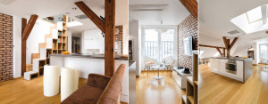 Wnętrza mieszkania na poddaszu warszawskiej kamienicy projektu Cat Inside