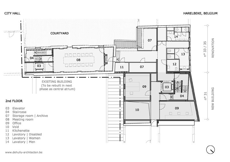 Ratusz miejski w Harelbeke. Projekt: Dehullu Architecten