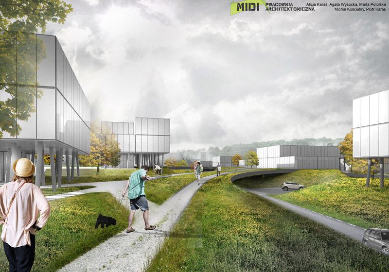 Projekt osiedla w Gdańsku. Pracownia: MIDI Architekci