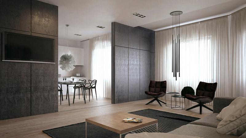 Wnętrza apartamentu. Projekt: Yevhen Zahorodnii