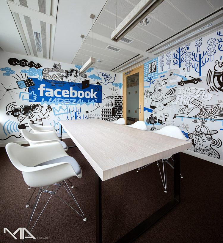 Wnętrza biura Facebook. Projekt: Madama