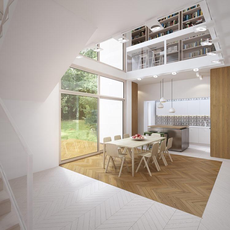 Projekt wnętrza domu jednorodzinnego we Wrocławiu. Projekt: ONE Architekci