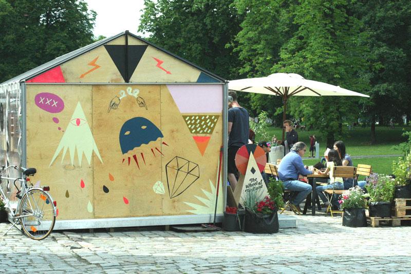 Pop-up bar Take Away w Poznaniu. Projekt: R2D2 Kolektyw