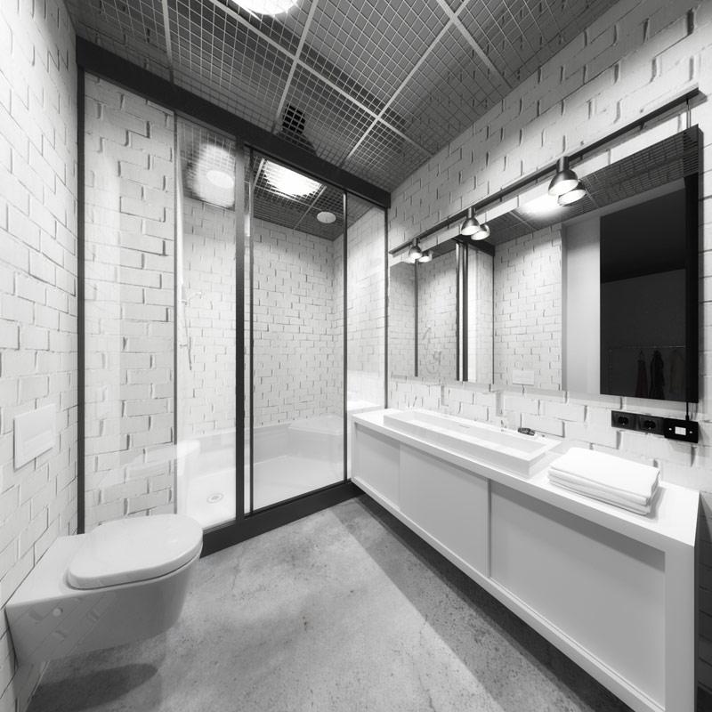Wnętrza loftu w Gliwicach. Projekt: Grupa Projektowa POZÓR