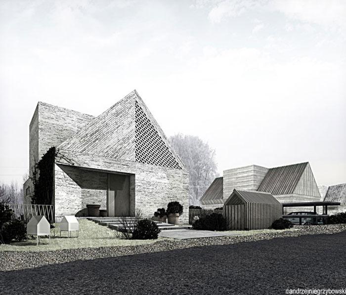 Dom w krajobrazie kujawsko-pomorskim. Projekt: Andrzej Niegrzybowski