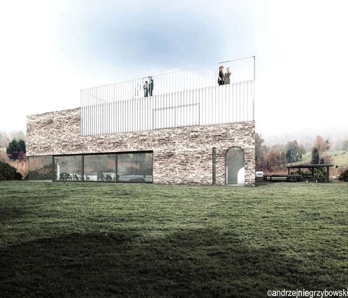 Dom z ćwierć kolebką. Projekt: Andrzej Niegrzybowski