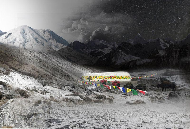 Himalayan Mountain Hut. Projekt konkursowy: Dorota Szlachcic, Mariusz Szlachcic, Julia Kisielewska, Wojciech Kłapcia