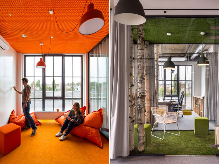 Wnętrza biurowe agencji interaktywnej Digital One. Projekt: Libido Architekci