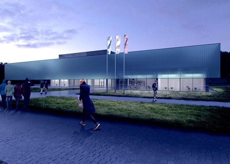 Projekt dyplomowy: Centrum Polskiej Motoryzacji na terenach dawnego toru FSO. Autor: Dawid Chojnacki