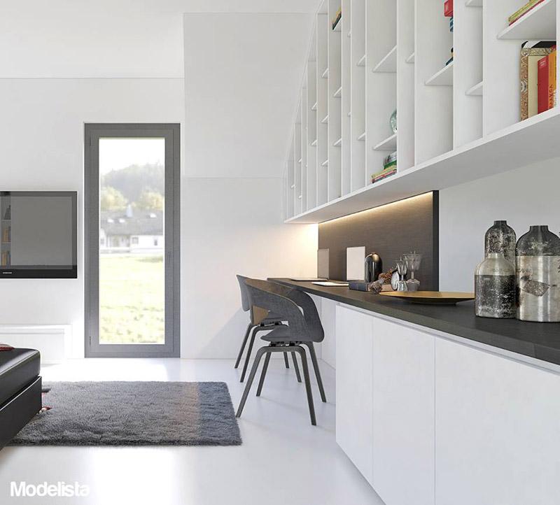 Wnętrze mieszkania dla pary podróżników. Projekt: Modelista Piotr Kalinowski