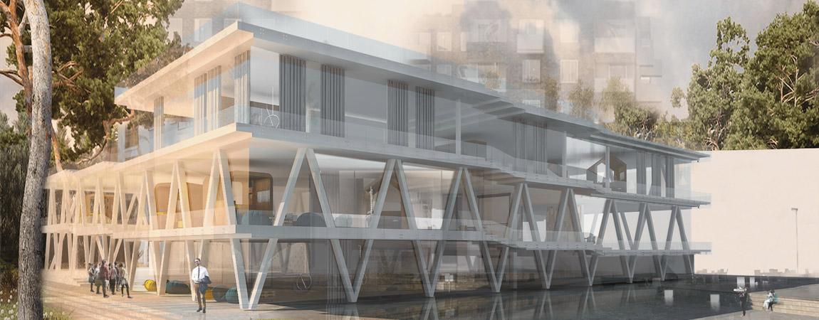 """Dyplomy Architektury: """"Socjalizator miejscowy - Miejsce pracy kreatywnej"""". Projekt: Elżbieta Szymańska"""