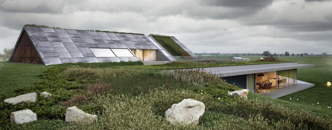 Green Line . Projekt nowoczesnego domu z widokiem na jezioro. Autorzy: MOBIUS Architekci | Przemek Olczyk