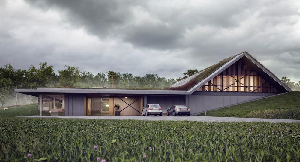 Green Line. Projekt nowoczesnego domu z widokiem na jezioro. Autorzy: MOBIUS Architekci | Przemek Olczyk
