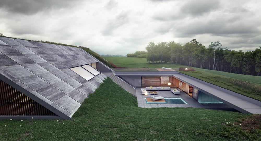 Green Line. Dom z widokiem na jezioro. Projekt: Mobius Architekci