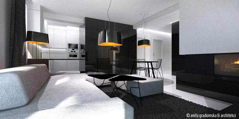 Wnętrze apartamentu w Aleksandrowie Łódzkim. Projekt: Anita Gradomska & Architekci