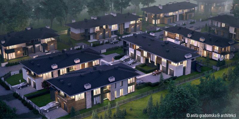 Osiedle domów jednorodzinnych w Aleksandrowie Łódzkim. Projekt: Anita Gradomska & Architekci