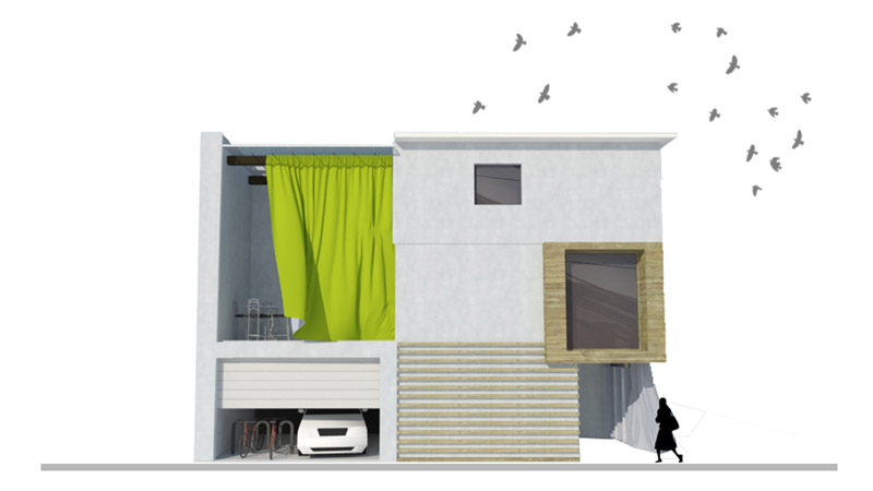 Curtain House. Projekt domu w Sakai, w Japonii. Autor: Karolina Szkapiak   SK Architekci