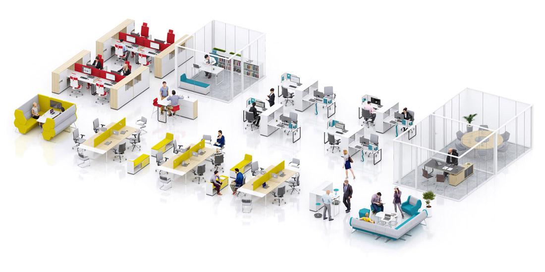Wnętrza biurowe: System meblowy Play&Work Grupy Nowy Styl