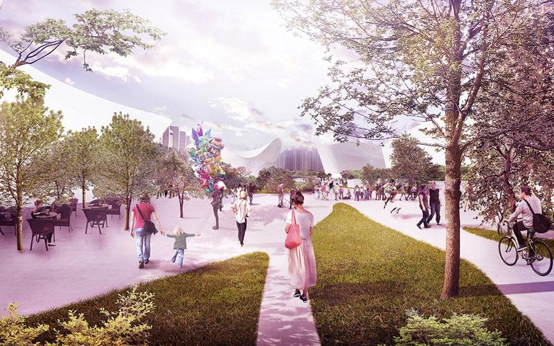 Konkurs na projekt przekształceń poolimpijskiej dzielnicy Jamsil Sports Complex w Seulu. Projekt: BXBstudio Bogusław Barnaś