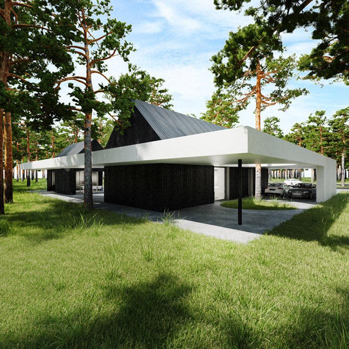 Dwa domy w lesie, Estonia. Projekt: Tamizo Architects Mateusz Stolarski