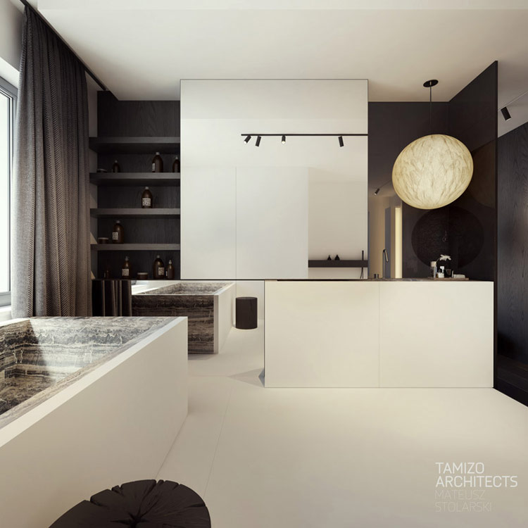 Wnętrza mieszkania w Piotrkowie Trybunalskim. Projekt: Tamizo Architects Mateusz Stolarski