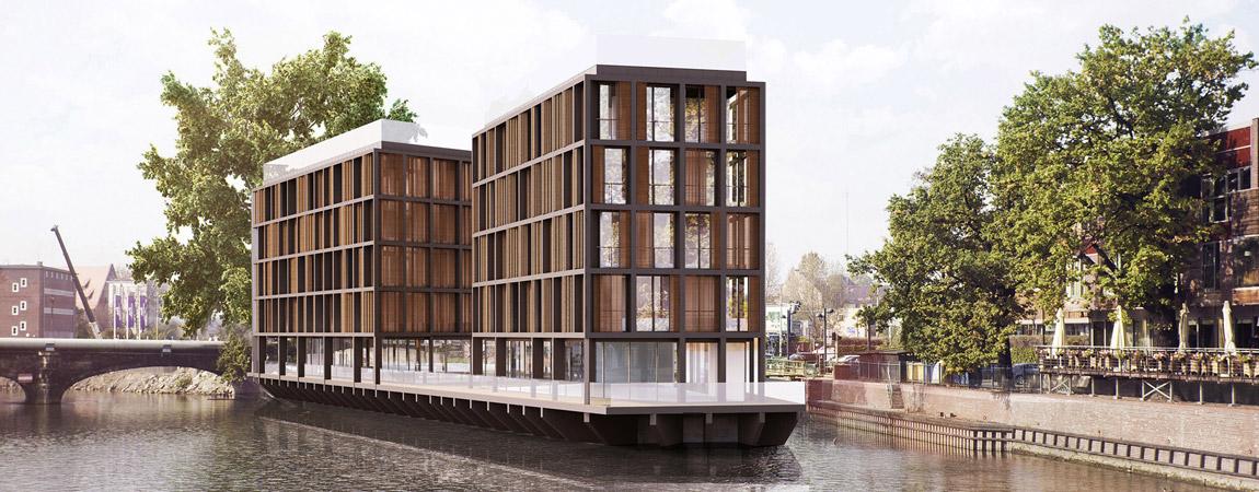 Apartamentowiec na Wyspie Pomorskiej we Wrocławiu. Projekt: Major Architekci