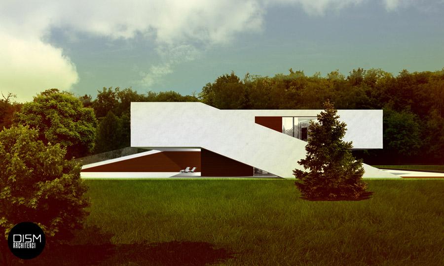 """Nowoczesny """"Dom na Przestrzał"""". Projekt: DISM Architekci"""