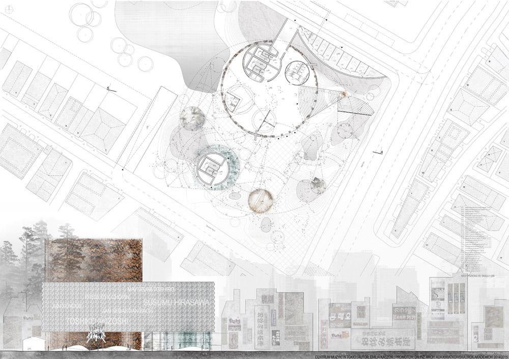 Dyplomy Architektury: Centrum Muzyki w Tokio. Projekt: Emilia Kaczor