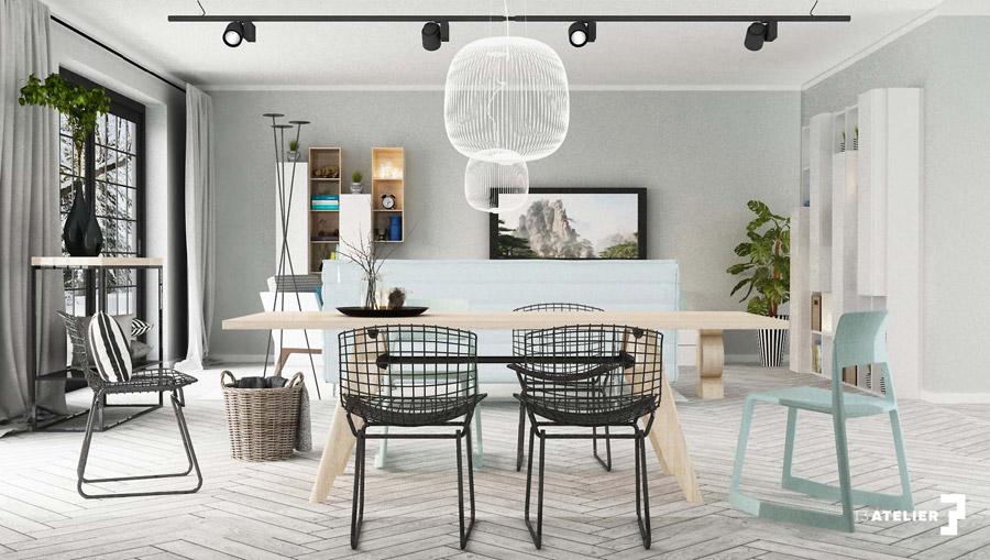 Skandynawskie wnętrza w odcieniach błękitu oraz czerni. Projekt: T3 Atelier | Urszula Tutaj
