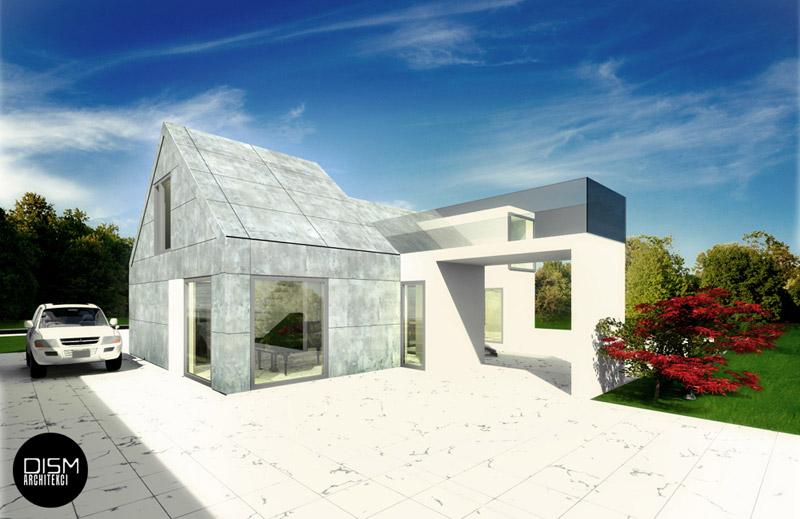 Dom ze skośnym dachem. Projekt: DISM Architekci
